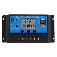 10A 20A 30A 12V/24V LCD PWM Voltage Solar Controller Battery PV cell panel charger Regulator Lamp 100W 200W 300W 400W 500W(China)