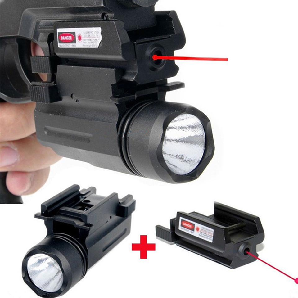 Tactical Rifle Lights with Red Laser Sight Glock Flashlight Combo Hunting Laser for Pistol Guns Glock 17,19, 22 Series<br>
