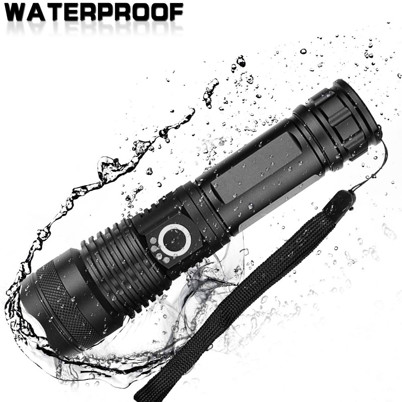 Lamp - XHP90 LED Flashlight Zoom USB Rechargeable Power Display Powerful Torch 18650 Handheld Light