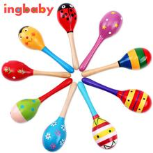 1pc Baby Toys Orff Musical Instrument Colorful Wooden Sand Hammer Barking Sand Ball Children Wooden Puzzle Toys Educational Toys(China)