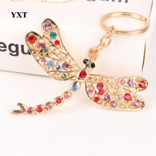 New Dragonfly Angel Wing Lovely Cute Crystal Charm Pendant Purse Handbag Car Key Ring Keychain Party Wedding Gift For Friend
