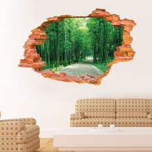 3D Broken Wall Bamboo From The Stickers Landscape Murals Bedroom Living Room Background Wall Decoration PVC Wall Stickers CQ-032(China)