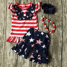 baby girls summer capri clothing children July 4th Patriotic clothes girl red stripe top with star ruffle shorts with accessorie(China)
