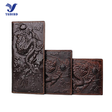 3D Animal Print Genuine Cowhide Leather Men's Wallet Brand Vintage Purse Long Wallet Alligator Dragon Card Holder Short Wallets
