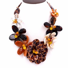 2017 new design leopard shell Black onyx crystal agates flower necklace for fashion womens(China)