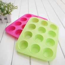 New Cake Tools Fondant Kitchen Bakeware Silicone Metal Non-Stick 12 Cups Cupcake Baking Tray Mousse Cake Mold Muffin Pan #81519(China)