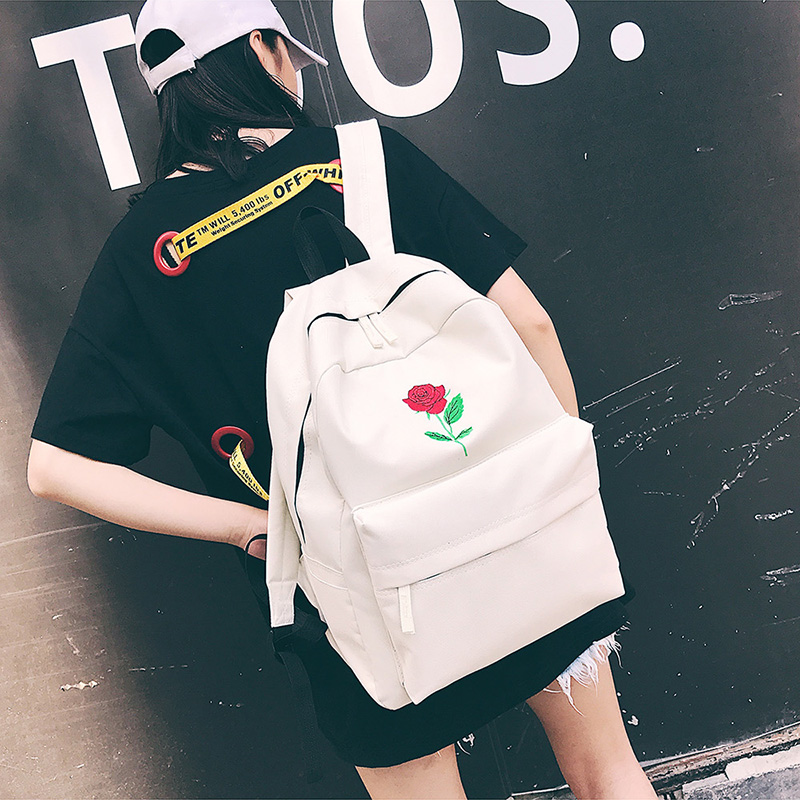 Men Canvas Backpack Cute Fashion Women Rose Embroidery Backpacks for Teenagers Women's Travel Bags Mochilas Rucksack School Bags (63)