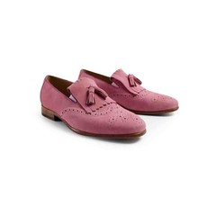 2017 handmade Mens Loafer Shoes Men Flat Vintage Retro Custom Luxury Fashion pink Dress Party Genuine Leather original design(China)