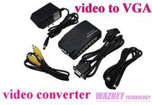 100PCS/lot* AV S-Video RCA Composite Video to PC Laptop VGA TV Converter adapter box video converter video to VGA Adapter(TV-PC)