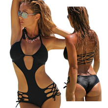 Buy Sexy Trikini 2017 One Piece Swimsuit Women Swimwear Hollow Triquini Bandage Monokini Floral Print Backless Swim Bathing Suit
