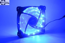 SXDOOL Computer case fan 12mm Blue 12CM 15 x LED 3 + 4 Pin Molex silent quiet axial fan 12 volt cooling fans