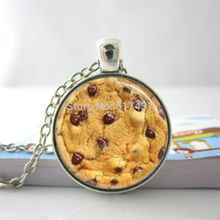 Fashion Necklaces For Women 2014 Cookie Necklace Chocolate Chip Cookie Glass Tile Necklace Pendant HZ1