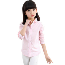 School Girl Blouse For Girls Hallow Out Blouse Long Sleeved Children White Pink Costume Kids Shirt Child Clothing For Age 3-12(China)