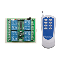 DC 12V 8 channel RF Wireless Remote Control system 1 Receiver +1 Transmitter Household multiplexing electric appliances(China)