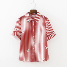 Blusas Femininas 2017 New Summer Tops Hot Fashion Pocket Women's Casual Shirts White Swan Printed Red Striped Lapel Slim Blouse