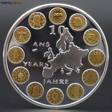 Eurozone Commemorative Twelve Countries Coins Silver Gold 40mm Zone Euro Challenge Coins Eu (European Union) Free Shipping