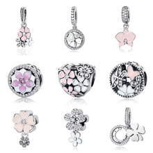 Authentic Original 925 Sterling Silver Charms Heart & Bow Magnolia Bloom CZ Crystal Beads Fit Pandora Bracelets DIY Jewelry(China)