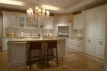 cream colored cherry kitchen cabinet(LH-SW068)