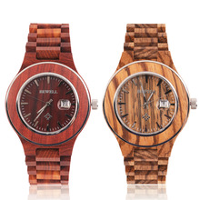 BEWELL 2017 New W100 Men's Fashion Wooden Round Dial Quartz Wrist Watch Date Gift Craft(China)