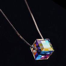 Top quality Crystal Cube Necklace for women best jewelry gifts Free Shipping(China)