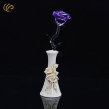 Purple Crystal Rose Decorations on The Christmas Tree Valentine's Rose Nice Flowers with Vase for Home Decor and Collection