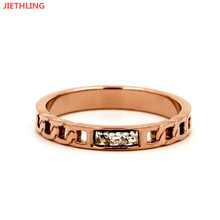 Hollow Imitation Chain Bohemia Jewllery Rose Gold Color Three Square Cubic Zirconia Engagement Rings For Women anelli donna(China)