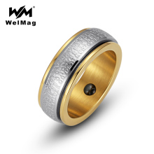 WelMag 2017 Fashion Mens Hematite Magnetic Health Ring Stainless Steel Double Circle Ring Wedding Band Ring Jewelry for Women(China)