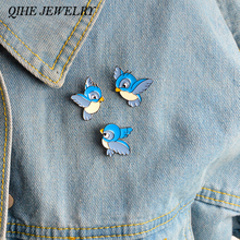 QIHE JEWELRY 3pcs/set brooch pins set Hard enamel blue birds brooch Jacket backpack pin girl boy bag accessories(China)