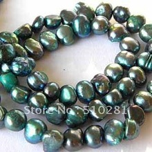 Free ship!!!Bulk 20strand 7-8mm 16'' full strand Dark Green (more color do) Nugget Freshwater Pearl Strand(China)