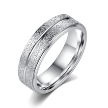2016 New Stainless Steel Ring  Double Frosted  Rhodium Plated Ring Free Shipping