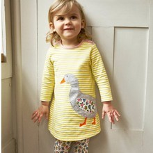 Costume for Kids Long Sleeve with Animals Embroidered Girls Dress Summer Hello Kitty Baby Girls Clothing 100% Cotton Soft Jersey