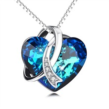 YFN Geniuses 925 Sterling Silver Blue Heart of Ocean Necklaces Pendants With Crystals Chain Necklace For Women