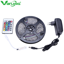 IP65 Waterproof LED Strip 5M 300Leds 3528 SMD with 12V 2A Power Adapter, 24key Mini Remote Controller only for RGB Strip Light