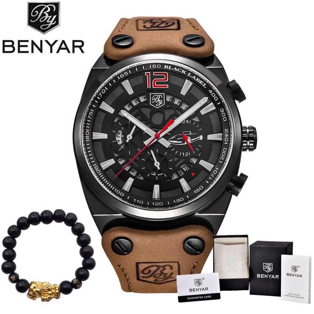 BENYAR Luxury Brand Chronograph Sport Mens Watches Fashion Military Waterproof Leather Quartz Watch Clock Men Relogio Masculino<br>