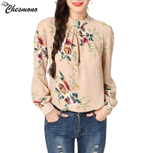 chesmono Elegant Floral Print Chiffon Blouse Women Long Sleeve Petal Shirts Tops Fashion Autumn Ladies Blouse Femme Loose Blusas(China)