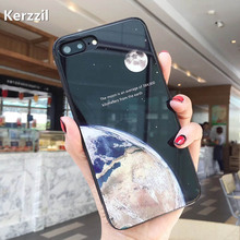 Kerzzil Cover For iphone7 7 8Plus Fashion Universe Series Moon Stars Cases For iphone 7 6 6S Smooth tempered glass Hard PC Back(China)