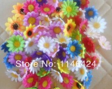 Free Shipping Wholesale Price 300 pieces/lot 4CM (1.6 Inch) Artificial Silk Sunflower Daisy Head Many Colours