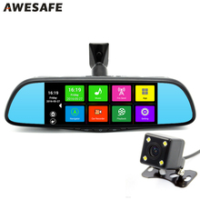 New 7 inch  GPS Navigation Android 4.4 Car DVR Rearview mirror FHD1080P dash camera car dvrs video recorder Dual Camera GPS