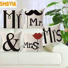 Hot Sale Mr & Mrs.Right Cushion Cover Painting Cotton Line 43*43cm Funny Pillowcase for Bed Couch Car Home Accesorries-1pc cover