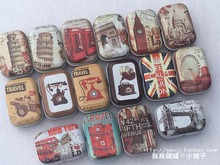 Europe Vintage DESIGN Mini Pill Case Collectable mini Box Diy storage box Small lipstick case small tin box 32pcs/box