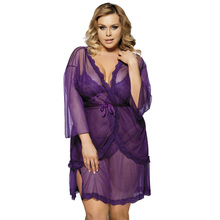 Buy Free shipping sexy plus size body lingerie hot porn XXXL transparent dresses erotic women's nightgows bady doll sexy lingerie