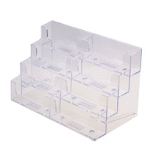 Practical New 8 Pocket Desktop Clear Acrylic Business Card Holder Display Stand Tool #80472(China)