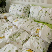 Nordic Floral Cotton Bedding Set 4pcs Duvet Cover Sets Soft Bed Flat Bed Sheet Set Pillowcase Bed Cover Housse De Couette(China)
