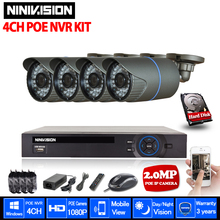 NINIVISION 4CH NVR 1080P IP Network PoE Video Record 720P IR Outdoor CCTV Security Camera System Home video Surveillance kit(China)