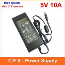 AC DC 5V 10A Power Supply Adpater 50W Charger LED Transformer For LED Strip Light CCTV Camera 1pcs