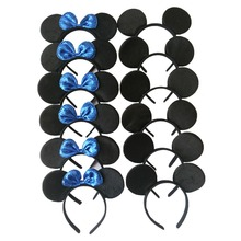 12pcs Minnie/Mickey Ears Solid Black and Blue Sequins Bow Headbands,Boy & Girl Headwear for Birthday Party or Celebrations(China)