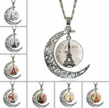 Buy Women Retro Moon Paris Eiffel Tower Crystal Stone Chain Necklace Pendant Steampunk Jewelry for $14.40 in AliExpress store