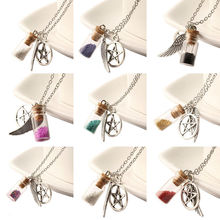 Glass Bottle Colrful Real Flower Pendant Angle Wing Supernature Star Charm Silver Chain Necklace Lucky Wish Locket Women Jewelry