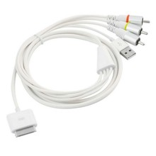White For iPad 2/3 iPhone 4/4S/3GS USB TV RCA Video Composite AV Cable to Ipod Adapter Black(China)