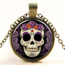 2016 Newest Vintage Steam Punk Glass Cabochon Funny Skeleton Head Print Pendant Necklace Men Women Halloween Party Necklace
